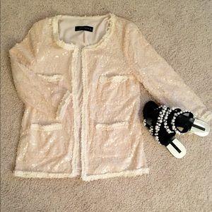 Zara light pink sequin jacket cardigan